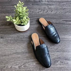 {Linea Paolo} Black Leather Annie Loafer Mule